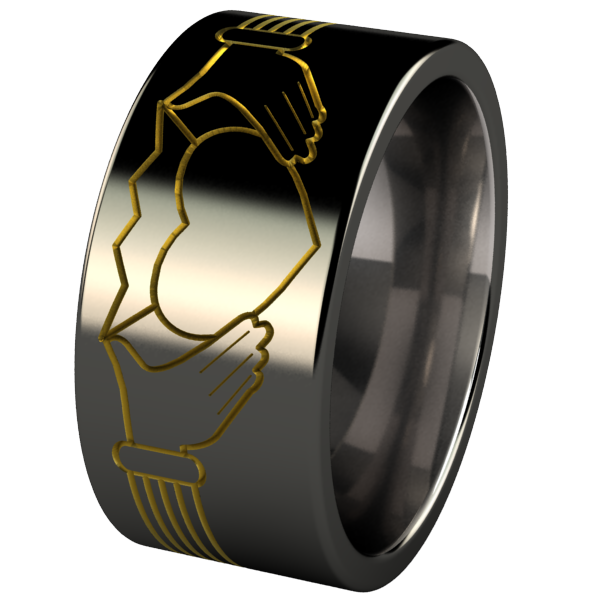 Claddagh Black and Colored-none-Titanium Rings