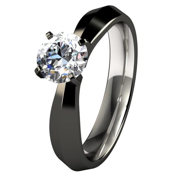 Cleopatra Solitaire Gem - Black-none-Titanium Rings