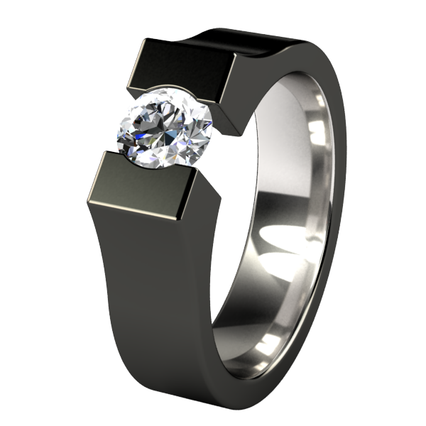 Comet Round Solitaire Gem - Black-none-Titanium Rings