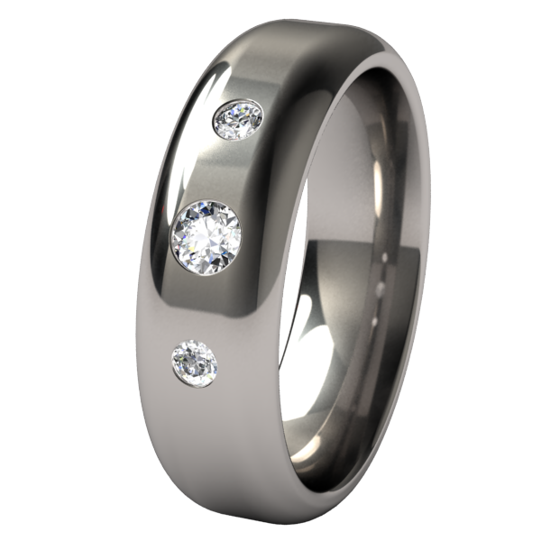 Contour Past-Present-Future Inset with Multi Stone Gems-none-Titanium Rings