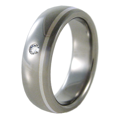 Zazu - Custom offset silver inlay with added inset 2mm diamond-none-Titanium Rings