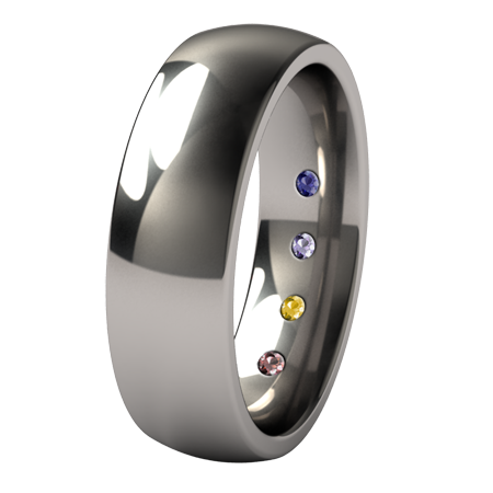 Custom Lunar Eclipse with 4 inside inset gems-none-Titanium Rings