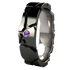 Custom Rocky Road Black with inset purple sapphire-none-Titanium Rings