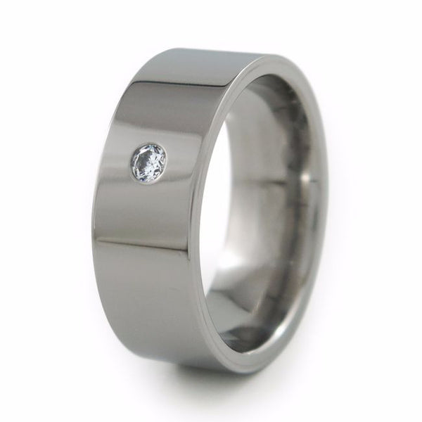 Flat profile titanium ring with inset for gemstone