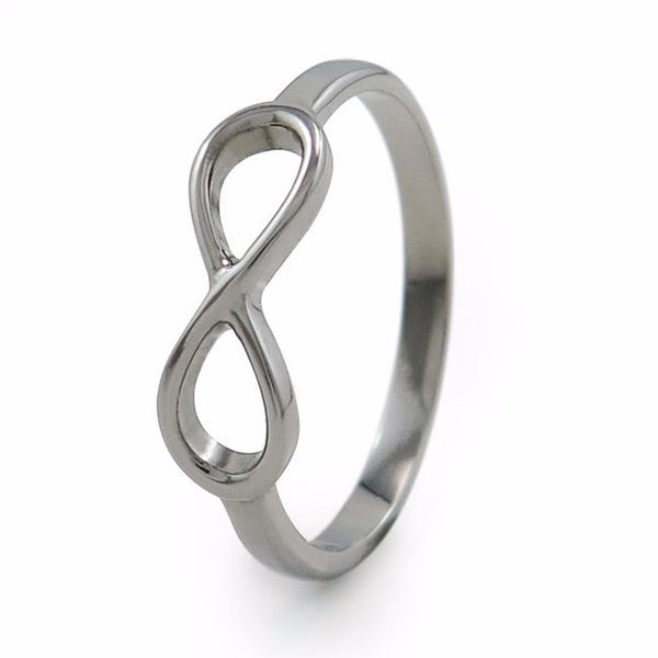 infinity ring, womens ring, womens titanium ring, titanium ring, wedding band, hypoallergenic ring