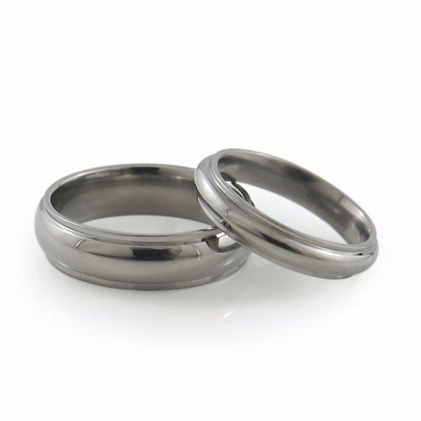 Ladies Titanium Ring great classic design further enhanced by two linear, squared edge-cuts for added style.