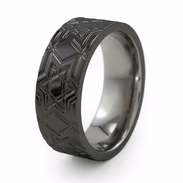 Star of David ring, mens ring, titanium ring, mens black titanium ring