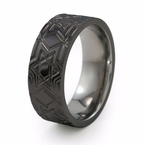 Magen David - Black Titanium Ring