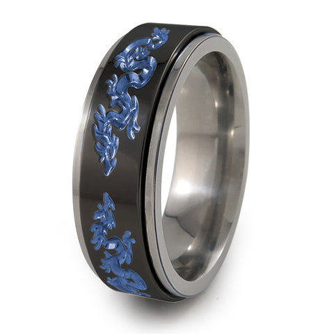 Dragons Titanium Fidget Ring | Natural edges and black spinner + Color