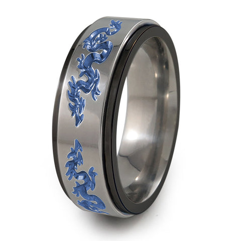 Dragons Titanium Fidget Ring | Black edge and natural spinner + Color