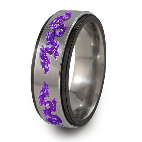Dragons black titanium fidget spinner ring