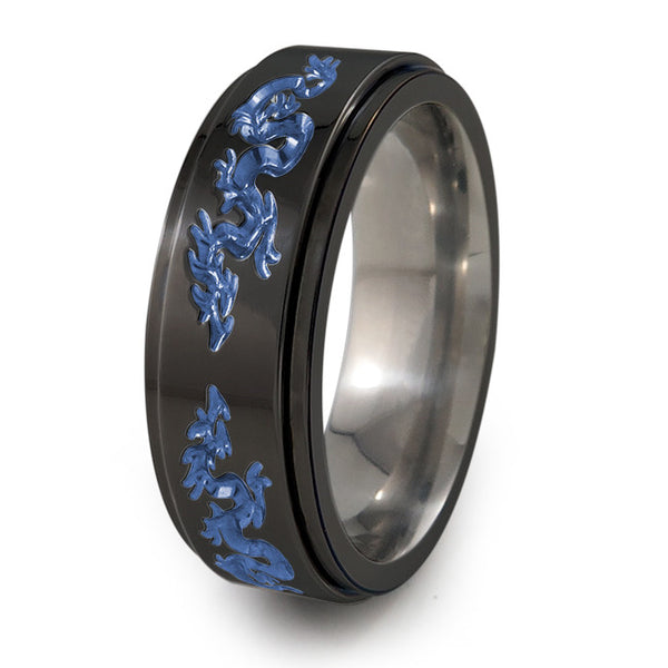 Dragon black titanium fidget spinner ring