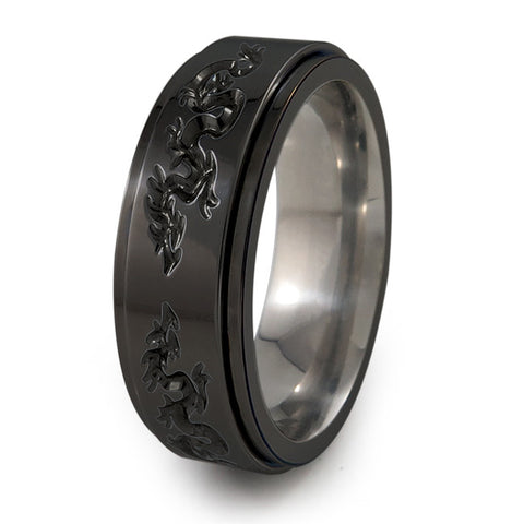 Dragons Titanium Fidget Ring | All Black + Color