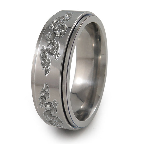 Dragon titanium fidget spinner ring