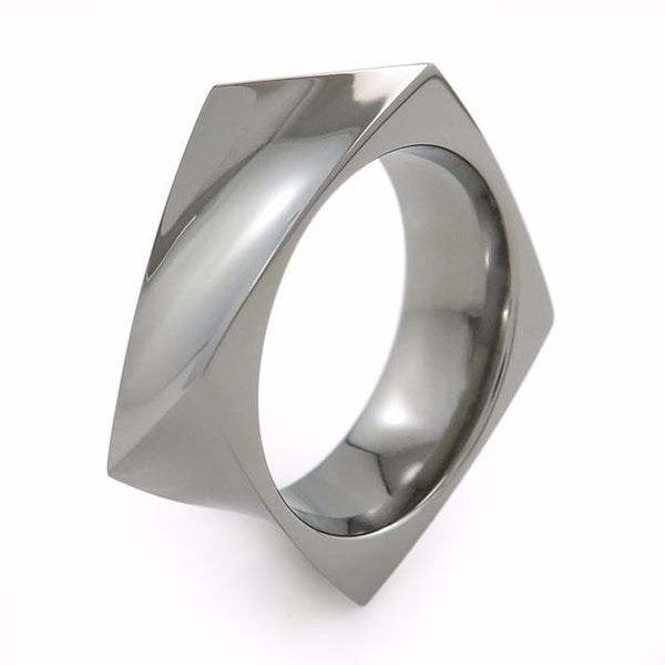 Square, contemporary, unique titanium ring. Quaddra Titanium Ring