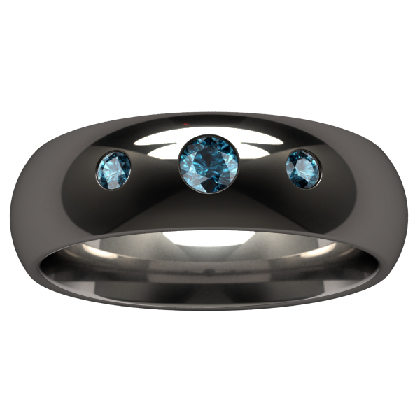 Custom Eclipse Past-Present-Future Inset - Black-none-Titanium Rings