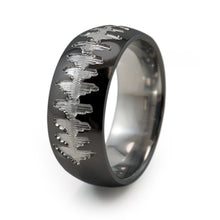 Titanium Ring with soundwave engraving of babys heartbeat from Ultrasound, or any sound wave that can be captured.