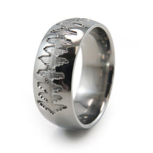 Titanium Ring with soundwave engraving of heartbeat from Ultrasound, or any sound wave that can be captured.
