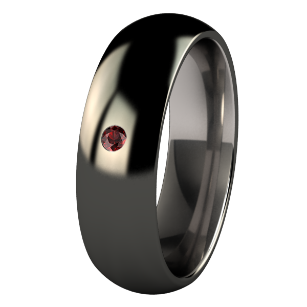 Custom Eclipse - black with 2mm inset red garnet-none-Titanium Rings