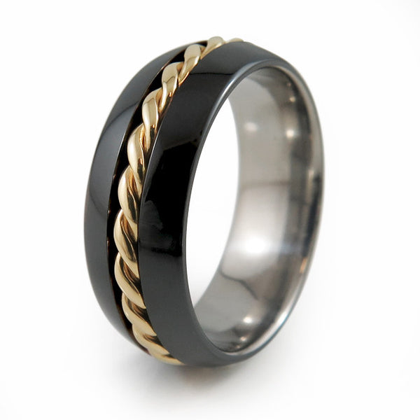 Eclipse Twist Inlay | 14K Yellow Gold-Ring - Template Tuxedo-Titanium Rings