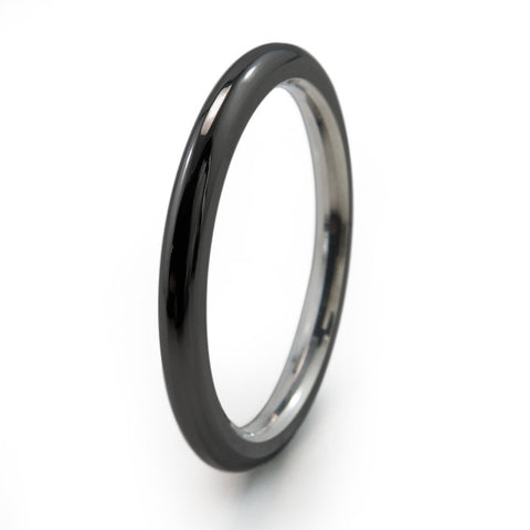 Black Round Stackable Titanium Rings