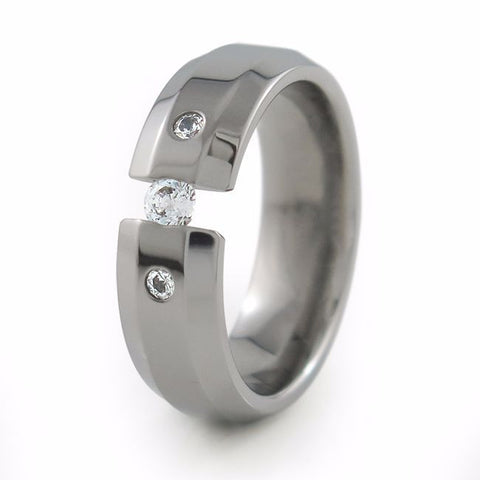 Ascent | Diamond Tension Past-Present-Future Titanium Ring