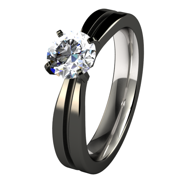 Electra Solitaire Gem - Black-none-Titanium Rings