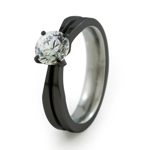 Electra Solitaire Black Titanium Ring