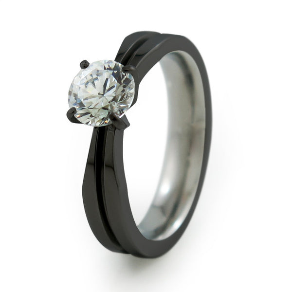 Titanium Engagement ring features a single prong setting and a slender band wit our unique black diamond plated finish.