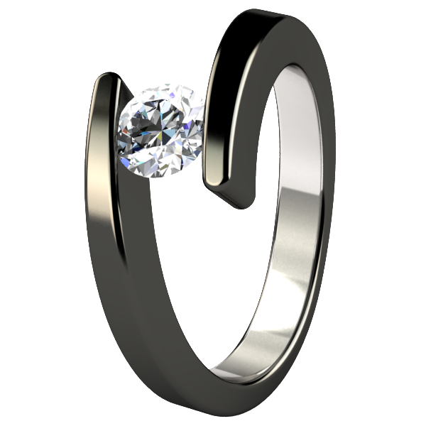 Etoile Round Solitaire Diamond - Black-none-Titanium Rings