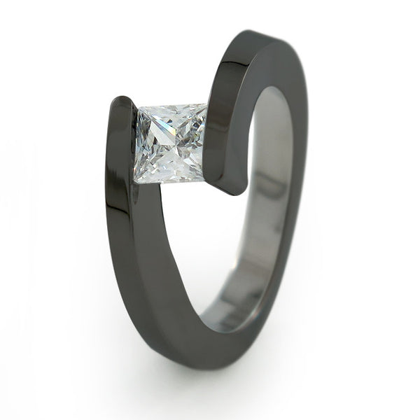 The Etoile Black Titanium engagement ring is clean and crisp in appearance. Your Gemstone sits flawlessly and appears to float