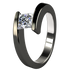 Etoile Square Solitaire Canadian Diamond - Black-none-Titanium Rings