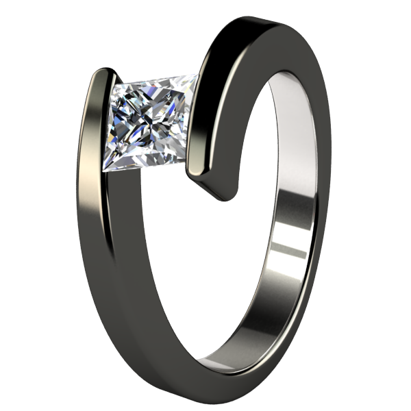 Etoile Square Diamond Solitaire - Black-none-Titanium Rings