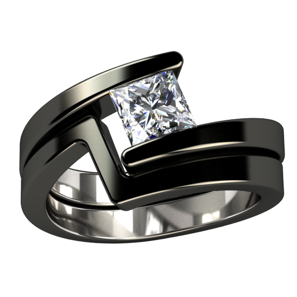 Etoile Princess Cut Black Titanium Ring