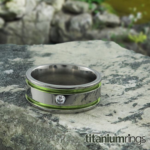 Mens Diamond Titanium Wedding band with comfort fit.