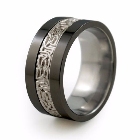 Camelot Black Titanium Ring With Precious Inlay