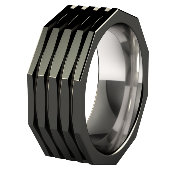 Kompressor Faceted - Black-none-Titanium Rings