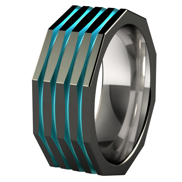 Kompressor Faceted - Black & Colored-none-Titanium Rings