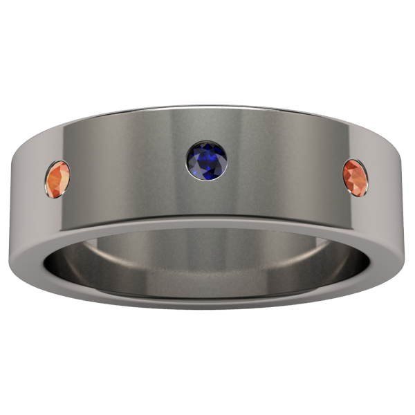 Custom Facia with 8 alternating colored sapphires-none-Titanium Rings
