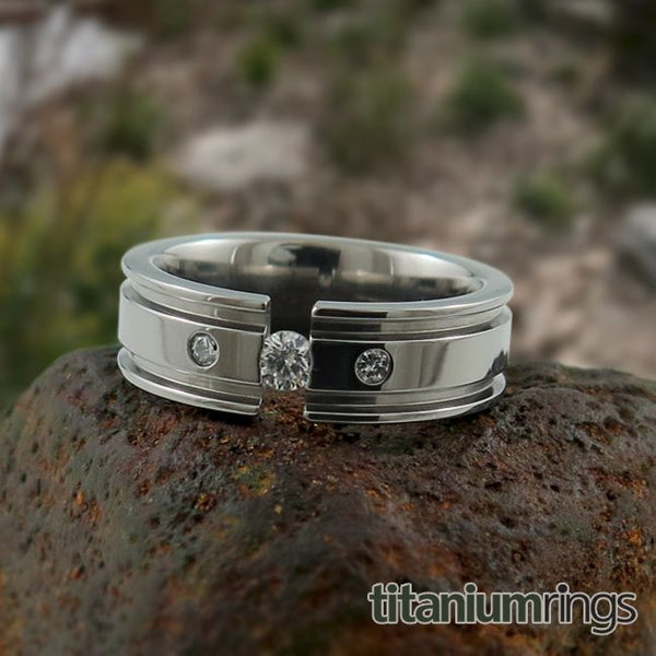 Mens titanium wedding band comfort fit collection tension diamond inset