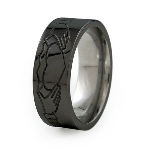 Claddagh | Black Titanium Ring