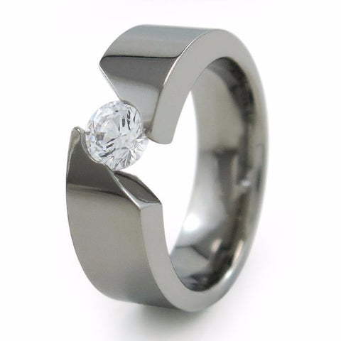 Samsara Ladies Titanium Ring with  6mm(±0.90 ct)Solitaire Diamond