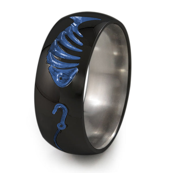 Fishermans Black Titanium Ring-Ring - Template 21-Titanium Rings