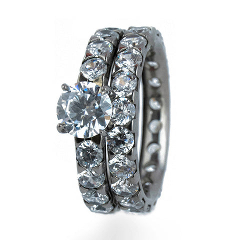 Full Eternity Titanium Ring Set
