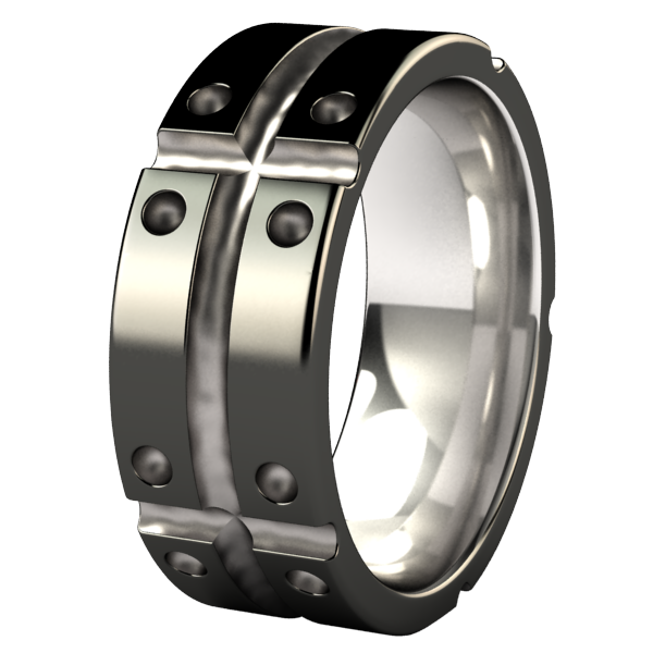 Geomatrix Flat - Black Two Toned-none-Titanium Rings