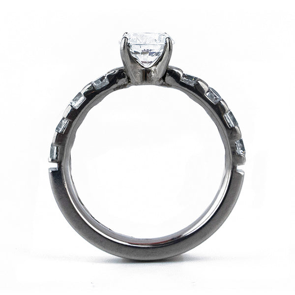 Half Eternity Titanium Ring with Prong Setting-Ring - Template 17-Titanium Rings