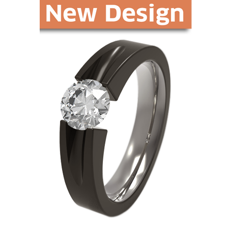 Haly Solitaire Gem - black diamond coated-none-Titanium Rings