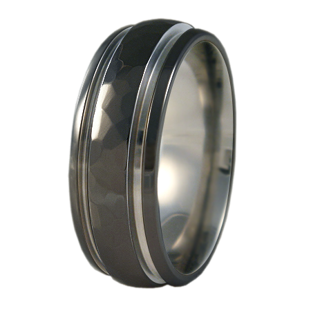 Bumblebee Hammered Finish - Black Two Toned-none-Titanium Rings