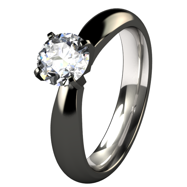 Helena Canadian Diamond Solitaire - Black-none-Titanium Rings