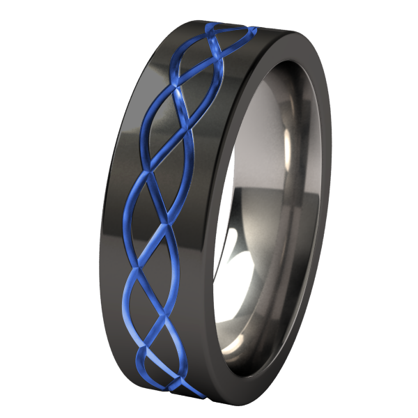 Hypnos Lite - black and colored - custom-none-Titanium Rings